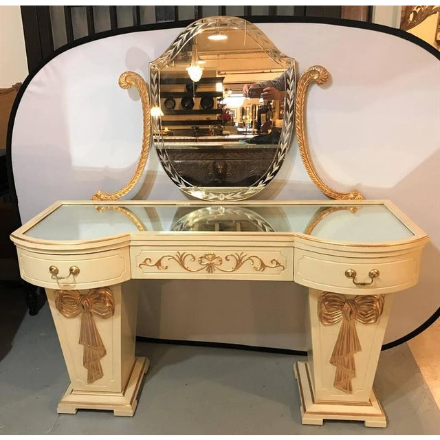 Grosfeld House Parcel Paint and Gilt Decorated Vanity or Desk w Mirror. A fine one of a kind ribbon and tastle solid wood...
