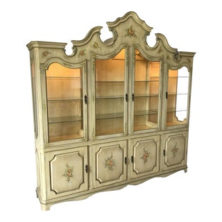 Karges Style Palatial Hollywood Regency Breakfront China Curio Armoire Display Cabinet Dorothy Draper Style For Sale