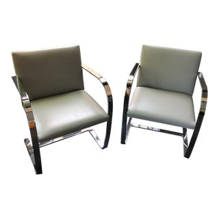 Ludwig Mies Van Der Rohe for Knoll Flat Bar Brno Chairs - A Pair For Sale