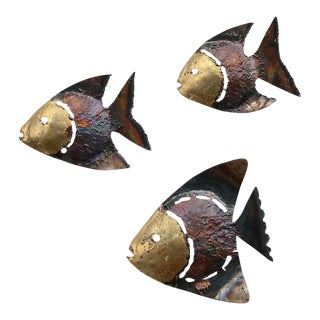 Mid-Century Metal Fish Wall Sculptures - Set of 3 For Sale