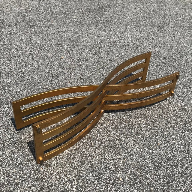Mid 20th Century Vintage Hollywood Regency Gilt Slatted Steel Sculptural X Base Glass Top Coffee Table For Sale - Image 5 of 13