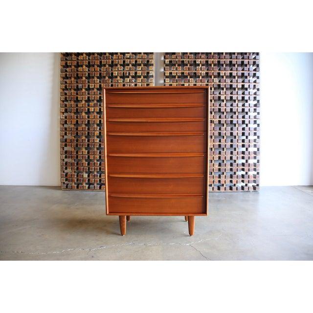 Brown Mid Century Danish Modern Svend Aage Madsen for Falster Mobelfabrik Teak Highboy Dresser For Sale - Image 8 of 9