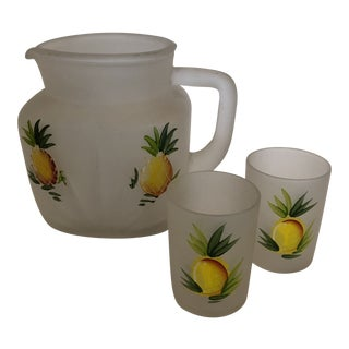 Frosted Glass Hand Painted Fruit Motif Pitcher and Glasses - Set of 3 For Sale