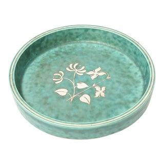 Wilhelm Kage Gustavsberg Argenta Ceramic and Sterling Silver Bowl Vintage For Sale