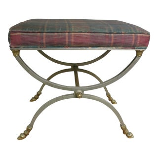 Vintage Italian Chrome and Brass Bench or Stool For Sale