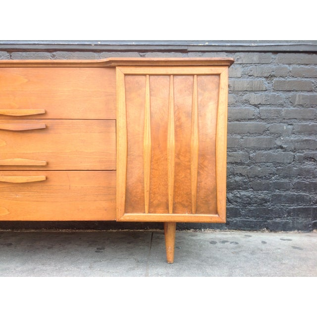 3-Drawer Bird's Eye Maple Credenza For Sale - Image 4 of 7