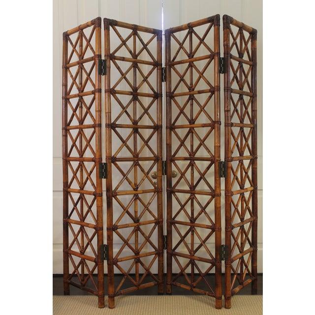 Vintage Bamboo Rattan Folding Room Divider For Sale - Image 12 of 12