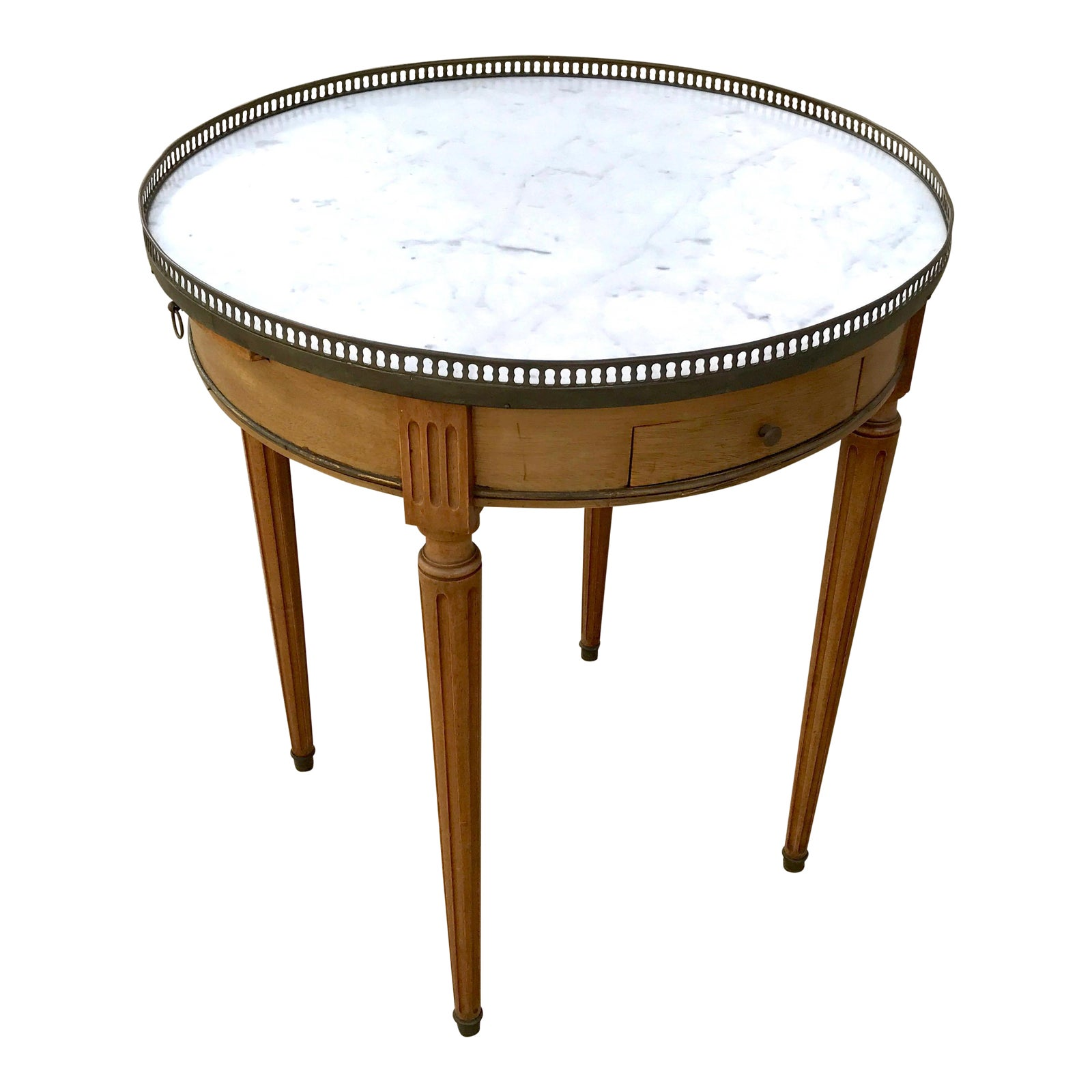Early 20th C French Fruitwood Side Table W Pierced Brass Gallery Marble Top Chairish