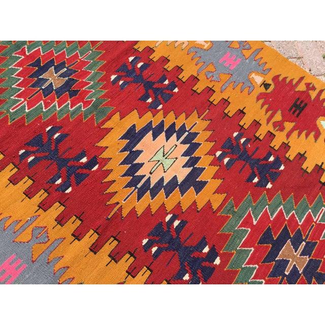 Textile Orange Turkish Kilim Rug For Sale - Image 7 of 9