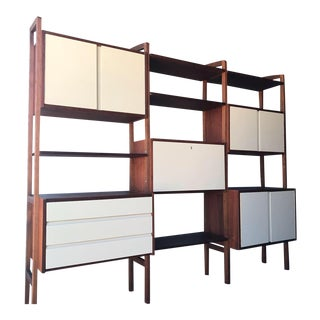Mid Century Modern Bookcase Modular Wall Unit Desk Display Room Divider For Sale