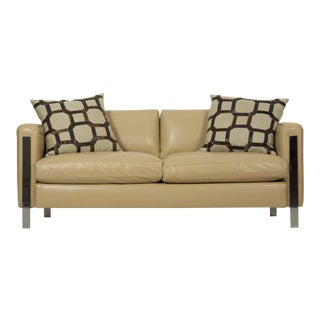 Modern Chrome Steel and Leather Loveseat 20th Century