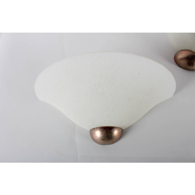 A Pair of Textured Glass Wall Sconces - Image 4 of 6