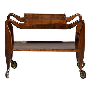 Mid-Century Italian Walnut Trolley With Removable Tray For Sale