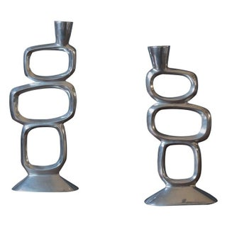 Mid-Century Modern Sculptural Metal Candleholders - a Pair For Sale