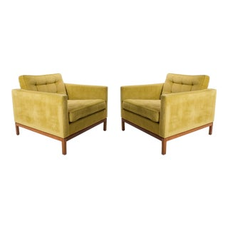 Velvet Florence Knoll Club / Lounge Chairs with Wood Bases - A Pair For Sale