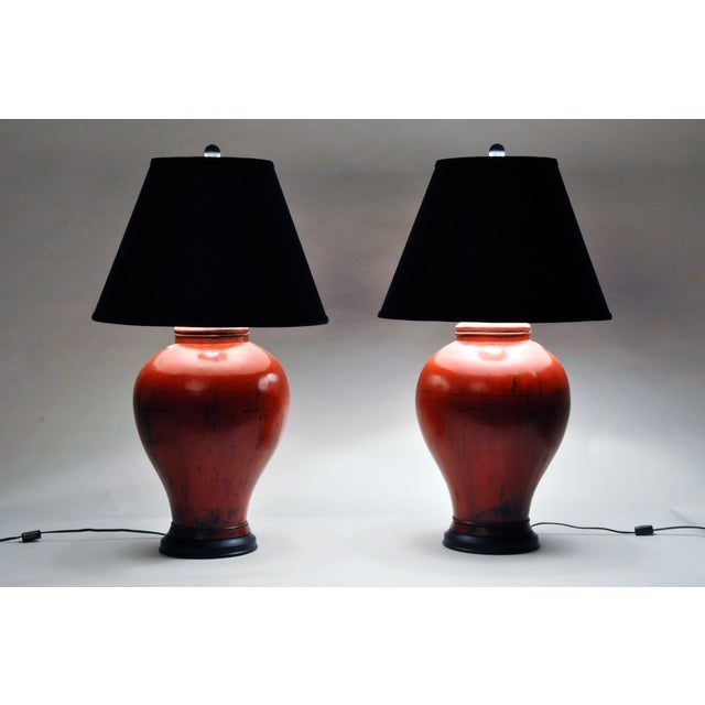 Asian Chinese Red Lacquer Canister Table Lamp For Sale - Image 3 of 11