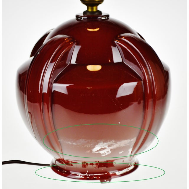 Art Deco Oxblood Reverse Painted Glass Table Lamp For Sale - Image 10 of 13