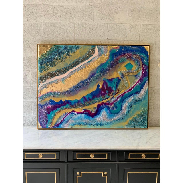 Abstract Framed Oil Painting With Resin and Rock Crystal on Canvas by Franchy For Sale In Miami - Image 6 of 13