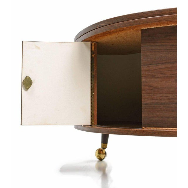 Grand Server Boomerang Kidney Shaped Walnut Coffee Table Bar Cabinet - Image 7 of 9