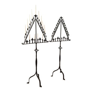 Tall Iron Candelabra Stands - a Pair For Sale