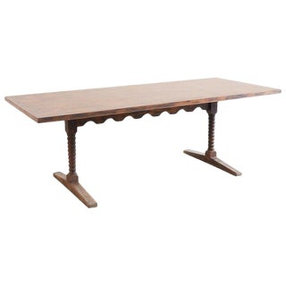 English Library Trestle Table or Refectory Table For Sale