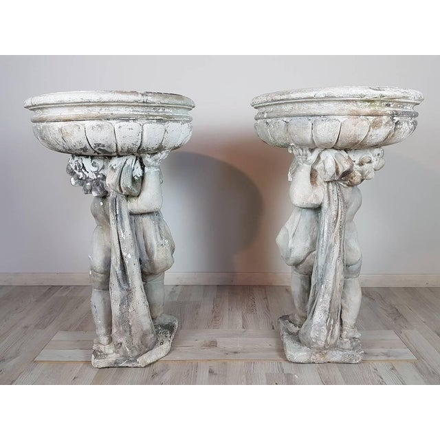 Concrete 20th Century Italian Neoclassical Garden Pots With Statues Set, Garden Ornament For Sale - Image 7 of 8