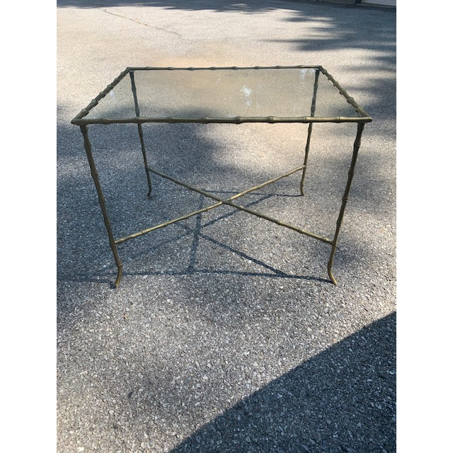 Brass Hollywood Regency Brass Faux-Bamboo Side Table For Sale - Image 8 of 8