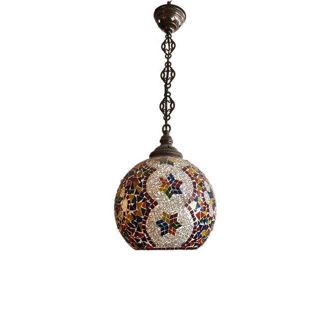 Islamic Turkish Mosaic Ceiling Round Lamp For Sale - Image 3 of 10