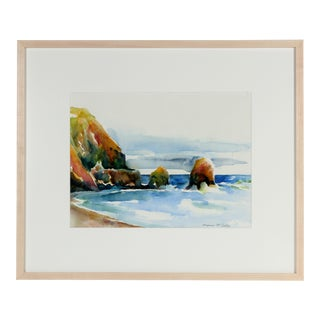 "Alysanne McGaffey ""Rockaway Beach, CA"" Watercolor Painting For Sale"