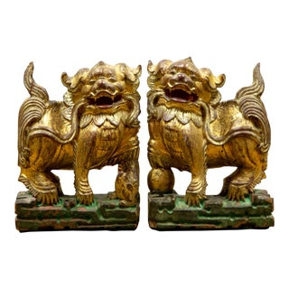 Vintage Mid Century Architectural Hand-Carved Wooden Foo Dog Bookends - a Pair For Sale