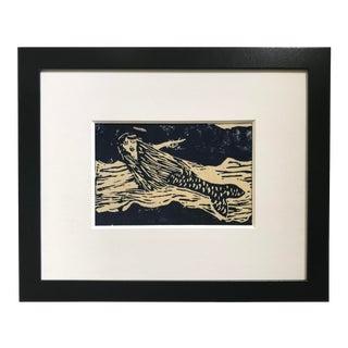 "1975 ""Blue Mermaid"" Original Linoleum Cut Print, Framed For Sale"