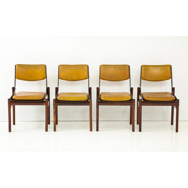 Danish Modern Jacaranda and Leather Dining Chairs From Brazil - Set of 4 For Sale - Image 3 of 13