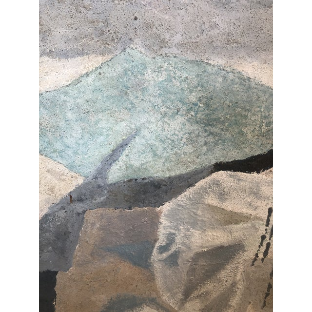 Mid-Century Modern Mid-Century Modern Abstract in Soft Gray Black and Blue For Sale - Image 3 of 12
