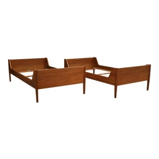 Danish Teak Twin Beds by Poul Hundevad - a Pair For Sale