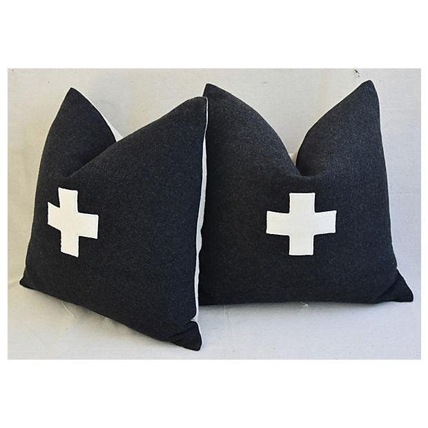 "Fabric 22"" Custom Tailored Charcoal Appliqué Cross Wool Feather/Down Pillows - a Pair For Sale - Image 7 of 12"