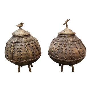 Mid 20th Century Ashanti Brass Kuduo Pots From Ghana - a Pair For Sale