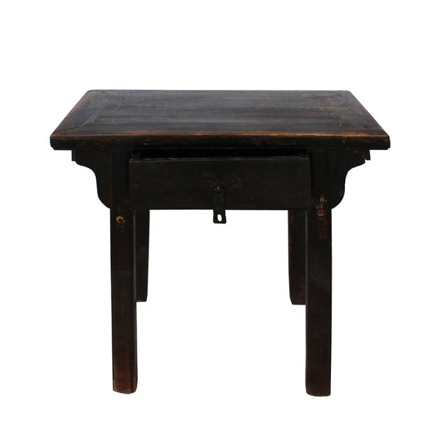 1960s Chinese Iron Hardware Drawer Distressed Brown Side Table For Sale - Image 5 of 7