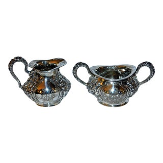 Art Nouveau Sterling Silver Sugar and Creamer - Set of 2 For Sale