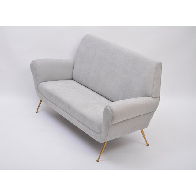 Mid 20th Century Reupholstered Grey Midcentury Sofa by Gigi Radice for Minotti For Sale - Image 5 of 9