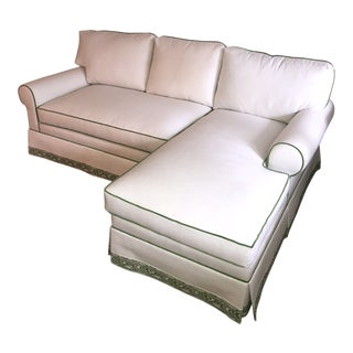 Custom White Cripton Sectional With Green Piping and Trim For Sale