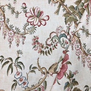 Boho Chic Lee Jofa Kitley Print Linen Designer Fabric by the Yard For Sale