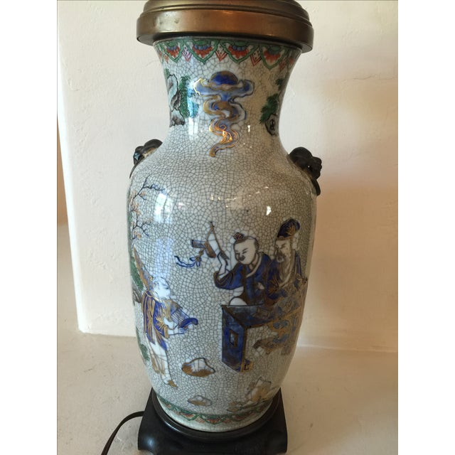 Vintage Asian Table Lamp With Wooden Base For Sale - Image 6 of 11