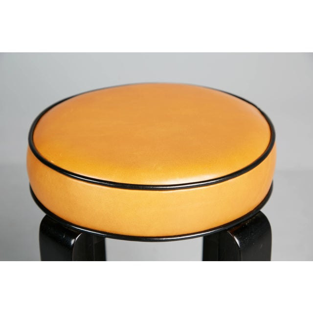 Animal Skin 1940s French Art Deco Cocktail Nesting Table and Leather Stools Set For Sale - Image 7 of 11