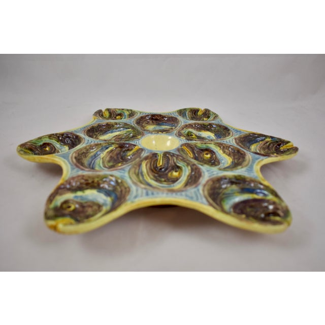 Ceramic French Barbotine Palissy Majolica Fish Head Star Shaped Oyster Plate, Circa 1880 For Sale - Image 7 of 11