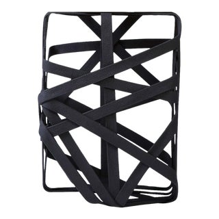 Rectangular Side Table Made From Hardened Cotton Strips For Sale