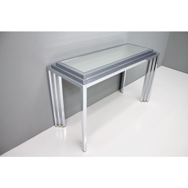 Hollywood Regency Chrome Mirror and Console Table, France, 1974 For Sale - Image 9 of 11