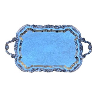 1970s Vintage B Rogers Silverplated Footed Waiter Tray For Sale