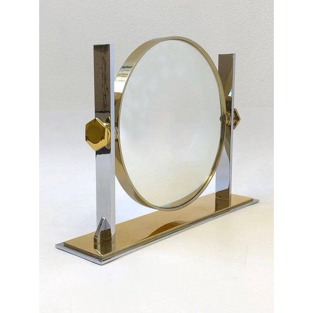 Gold Brass and Nickel Vanity Mirror by Karl Springer For Sale - Image 8 of 10