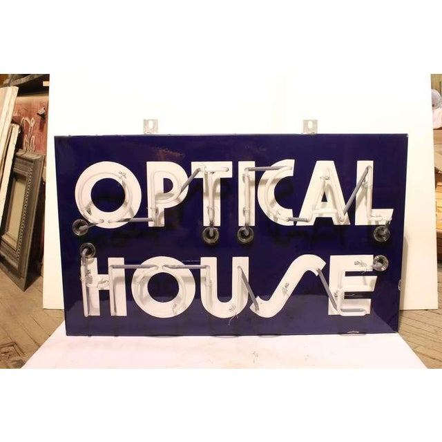 "Rustic 1950's Vintage Original ""Optical House"" Neon Sign For Sale - Image 3 of 3"