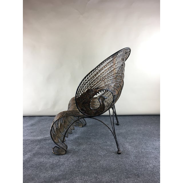 Metal 1990s Wrought Iron Sculptural Peacock Chair by Artmax For Sale - Image 7 of 11